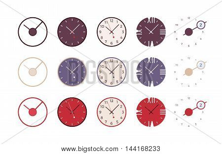Set of modern wall clocks isolated against the white background. Cartoon vector flat-style illustration
