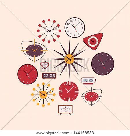 Retro wall and alarm clocks. Cartoon vector flat-style illustration