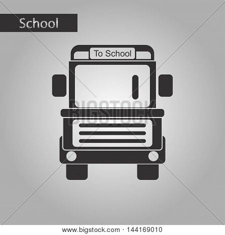black and white style icon school bus
