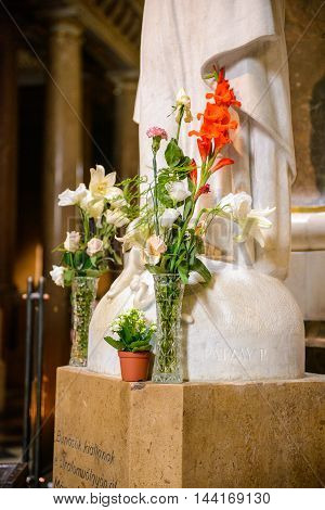 BUDAPEST, HUNGARY - AUG 18 2014: Flowers in the St. Stephen's Basilica, a Roman Catholic basilica in Budapest, Hungary. It is named in honour of Stephen, the first King of Hungary, built in 1905
