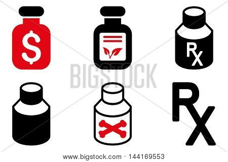 Drugs Vial vector icons. Pictogram style is bicolor intensive red and black flat icons with rounded angles on a white background.