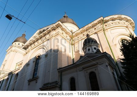 Walking through the streets of the Old city of Lviv, vintage stone streets of Lviv