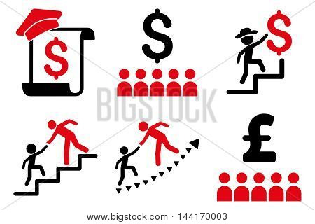 Financial Education vector icons. Pictogram style is bicolor intensive red and black flat icons with rounded angles on a white background.