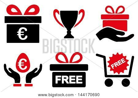 Gift vector icons. Pictogram style is bicolor intensive red and black flat icons with rounded angles on a white background.