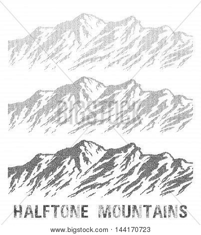 Halftone mountain range set. Black and white huge dotted mountains isolated on white background. Vector illustration.