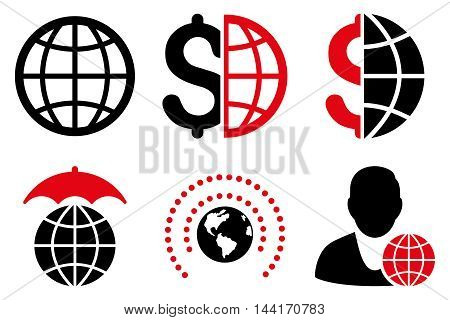 Global Business vector icons. Pictogram style is bicolor intensive red and black flat icons with rounded angles on a white background.