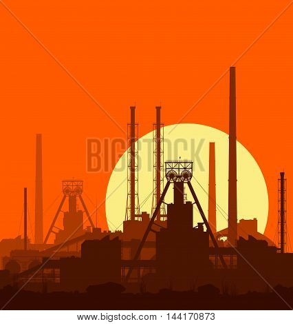 Mineral fertilizers plant at sunset. Detail vector illustration of large of manufacturing plant over orange evening sky with huge shining sun.