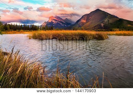 Vermilion Lakes Sunset Near Banff