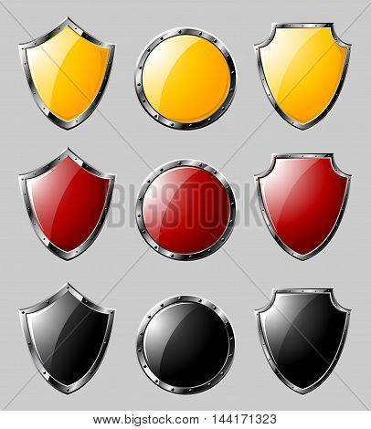 Set of colored steel triangle and round shields isolated on grey background. Vector illustration.