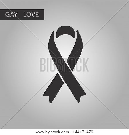 black and white style icon HIV ribbon