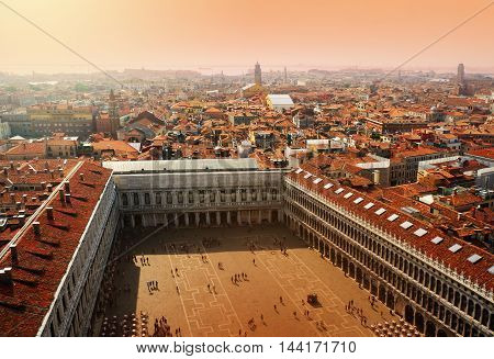 Italy. Venice, architecture kind from height of the bird's flight, Place San Marco