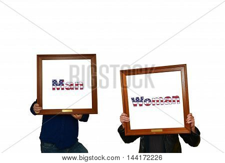 Tho mans holding picture frames with the inscription man-woman