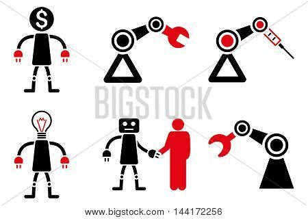 Robot vector icons. Pictogram style is bicolor intensive red and black flat icons with rounded angles on a white background.