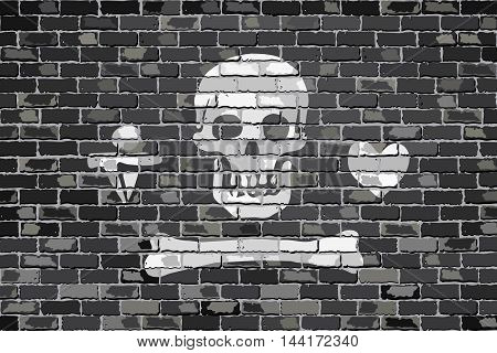 Pirate flag on a brick wall - Illustration,