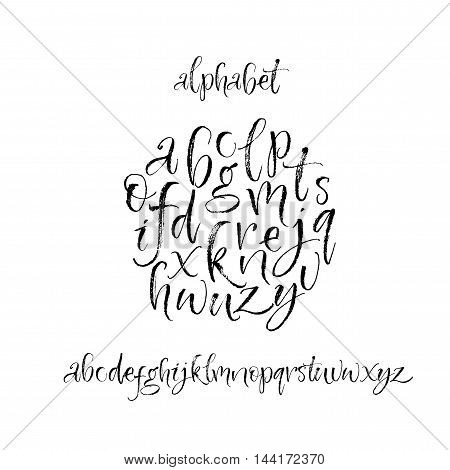 Collection of hand drawn brush alphabet letters. Ink illustration. Modern brush calligraphy. Isolated on white background.