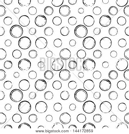 Seamless pattern with hand drawn line circles. Ink illustration. Isolated on white background. Hand drawn ornament for wrapping paper.