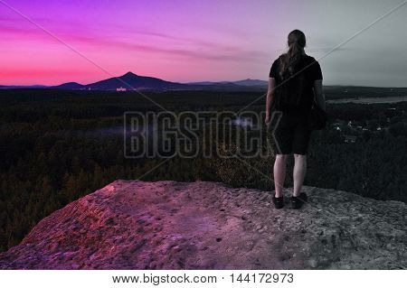 2016/08/07 - Hradcany Czech republic - photographer Jiri Igaz appeared view from the rock Hradcanska vyhlidka to mountains Ralsko and Jested in tourist area Machuv kraj
