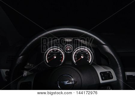 2016/08/07 - Hradcany Czech republic - dashboard of car Opel Astra H in the night