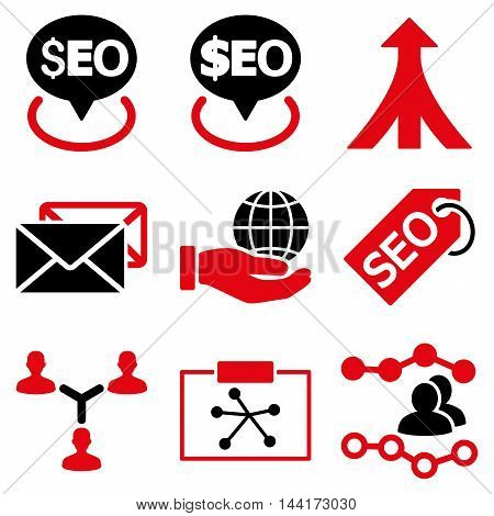Seo vector icons. Pictogram style is bicolor intensive red and black flat icons with rounded angles on a white background.