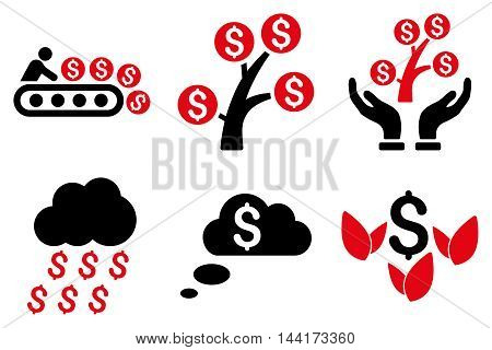 Success Startup vector icons. Pictogram style is bicolor intensive red and black flat icons with rounded angles on a white background.