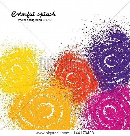 Colorful paint splash swirl on white background. Vector illustration.