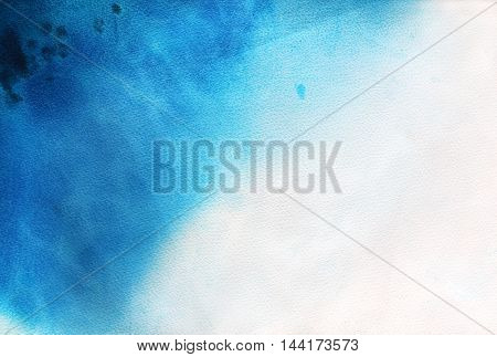 Hand drawn blue watercolor background. Imitation of water or sea. Ink illustration. Hand drawn watercolor painting.