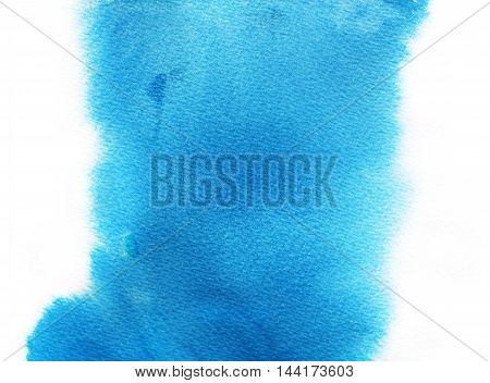 Blue abstract watercolor background. Hand drawn texture for your design. Ink illustration. Hand drawn watercolor painting.