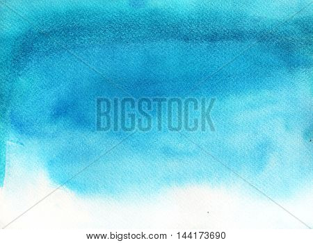 Abstract blue sky watercolor background. Ink illustration. Hand drawn watercolor painting.