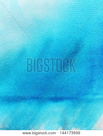 Hand drawn blue sky watercolor background. Abstract texture. Ink illustration. Hand drawn watercolor painting.