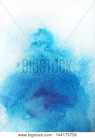 Abstract blue sky watercolor background. Hand drawn blue painting. Ink illustration. Hand drawn watercolor painting. Hand drawn blot.