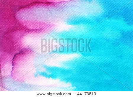 Hand drawn watercolor texture. Ink illustration. Hand drawn texture for your design. Modern painting. Blue and pink background.