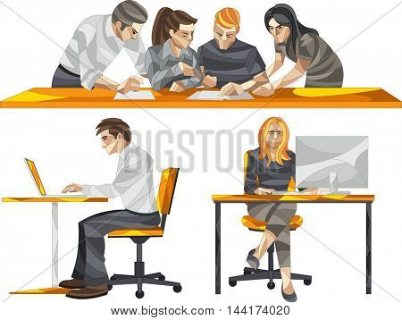 Cartoon business people working in office