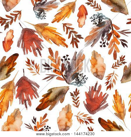 Seamless with hand drawn red and orange leaves. Hand drawn ink illustration. Hand drawn ornament for wrapping paper.