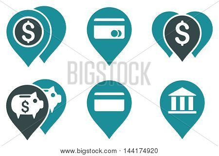 Bank Map Markers vector icons. Pictogram style is bicolor soft blue flat icons with rounded angles on a white background.