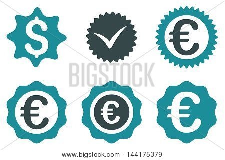 Banking Stamp vector icons. Pictogram style is bicolor soft blue flat icons with rounded angles on a white background.