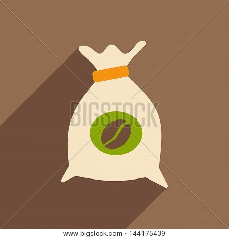 Flat with shadow icon and mobile application coffee bag