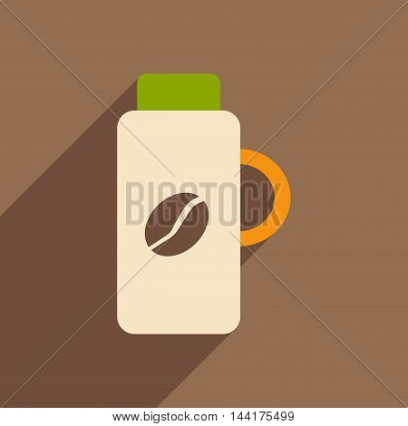 Flat with shadow icon and mobile application thermos