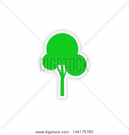 icon sticker realistic design on paper tree silhouette