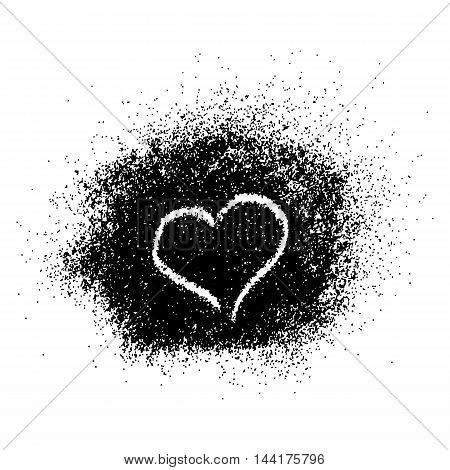 Paint splash with heart on white background. Vector illustration.