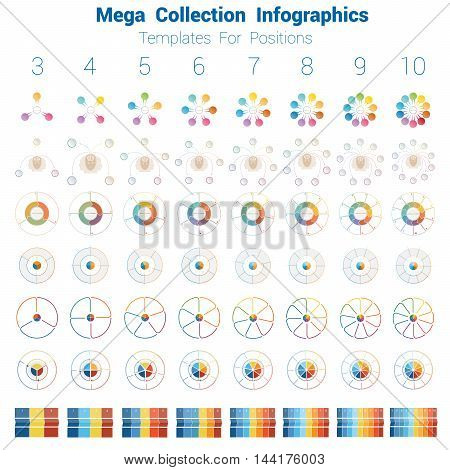 Mega Collection Infographics cyclic processes, templates for text area 3 4 5 6 7 8 9 10 positions possible to use for work flow banner diagram web design timeline.