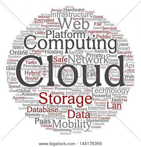 Conceptual web cloud computing technology abstract round wordcloud isolated on background