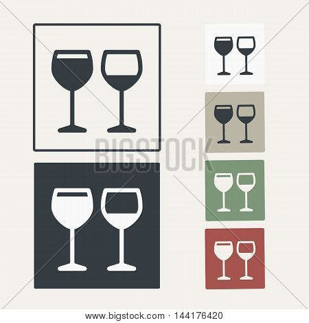 vector icon set of glasses for wine