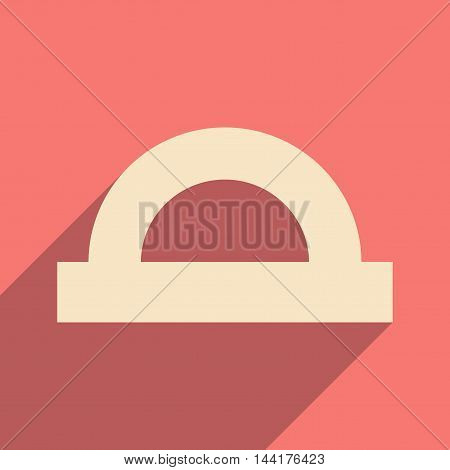 Flat with shadow icon and mobile application protractor