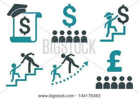 Financial Education vector icons. Pictogram style is bicolor soft blue flat icons with rounded angles on a white background.