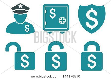 Financial Guard vector icons. Pictogram style is bicolor soft blue flat icons with rounded angles on a white background.