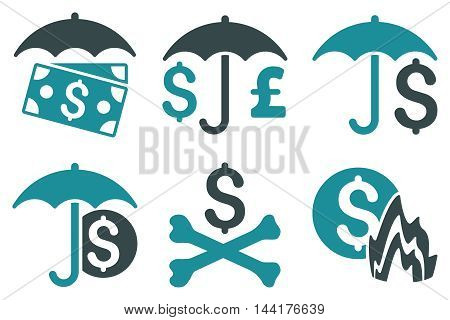 Financial Umbrella vector icons. Pictogram style is bicolor soft blue flat icons with rounded angles on a white background.