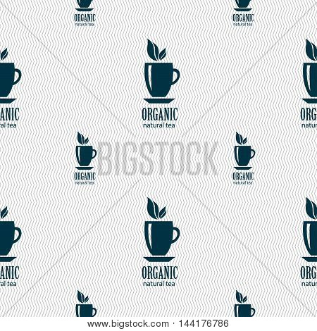 Organic Natural Tea Sign. Seamless Pattern With Geometric Texture. Vector