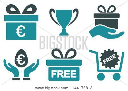 Gift vector icons. Pictogram style is bicolor soft blue flat icons with rounded angles on a white background.