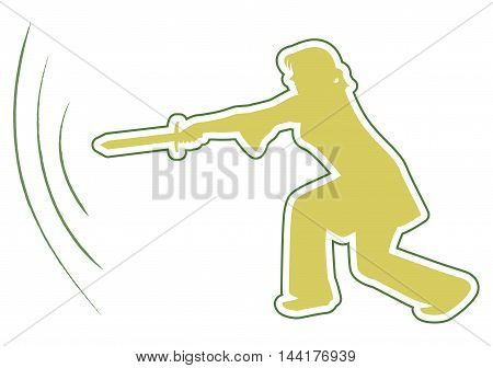 A woman with a sword in a pose. Vector illustration