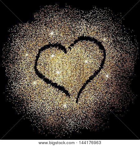 Paint heart on gold glitter on black background. Vector illustration.